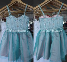 Wholesale Adorable Blue Prom Dresses - Beautiful Pink Green Spaghetti Straps Crystal Beading Adorable Sleeveless A-line Little Girl Prom Dresses Flower Girl Pageant Dresses