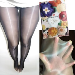 Wholesale Free Silk Tights - Shiny super-tight silk pantyhose men and women thin section shine plus crotch increase extreme temptation fun open crotch silk socks
