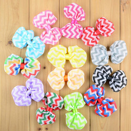 Wholesale Diy Tie Clip - Wave Stripe Chiffon Bow without Clip 13 Colors DIY Children Hair Accessories Baby Girls Ties Clothing Jewelry Hair Clip Hairpins 50pcs B725