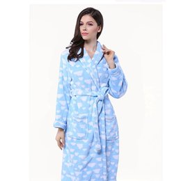 Wholesale Heart Textile - 100% Fleece Womens Bathrobe Heart Pattern Printed Thick Adult Bath Towels Sleeping Wear Home Textile Free Shipping