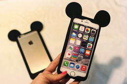 Wholesale Cheap 3d Mouse - Cheap Price Girl Cute Lovely 3D Mouse Ears Silicone Bumper Cell Phone Case Soft Silicone Bumper Mobile Phone Cases for Iphone5 6s 6plus