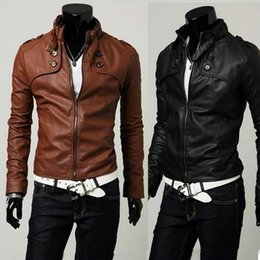 Wholesale Korean Paragraph Motorcycle Jacket - (New Products) Men's Korean version of the classic four button short paragraph Slim leather, standing collar motorcycle leather jacket y95