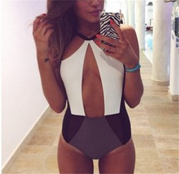 Wholesale Cut Out Swimsuits For Women - onesie Swimwear Black And White Cut Out Explosion Models Womens Splicing Fitting Swimsuit Bikini Swimwear For Women Bikini Women Swimwear