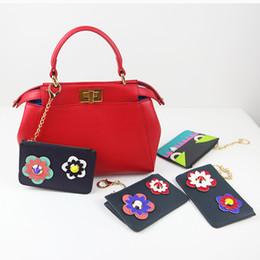 Wholesale Wholesale Purse Parts - Wholesale- YESIKIMI Women Coin Purses Colorful Flower decals Black Small Money Card Bags Monster Zipper Purse Split Leather Bag Part