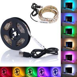 Wholesale usb backgrounds - 5V USB Cable LED Strip Light Lamp SMD3528 50cm 100cm 200cm Christmas Flexible Led Strip Light with Mini Controller TV Background Lighting