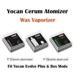 Batería de repuesto online-Original Yocan Cerum Atomizador Vaporizador de cera de cerámica completo con cuarzo de repuesto QDC Dual Coil Fit 1100mAh Yocan Evolve Plus Battery 510 Box Mod