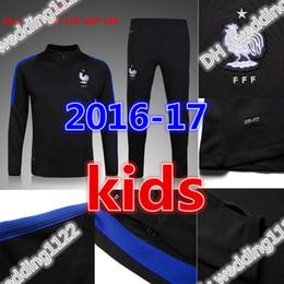 Wholesale Black Gold Boy Suit - No zipper best quality kids sets 2017 18 France Football jacket tracksuit Netherlands de foot GRIEZMANN POGBA Giroud jacket Training suit