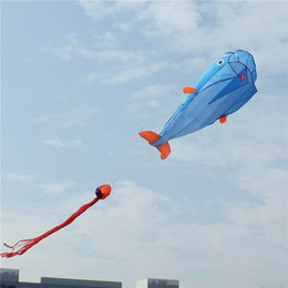 Wholesale Fish Line Nylon - Wholesale- Animal Dolphin Kite Inflatable Blue Line Kite Kid Adults Kite Inflatable Outdoor Sport Dolphin Kids Outdoor Toy Easy to Fly Fish