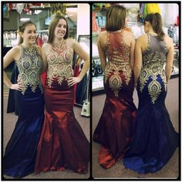 Wholesale Evening Detailing - Beautiful 2017 Prom Dresses with Gold Details and Sleeveless Lace Appliqued Burgundy Satin Royal Blue Evening Party Gowns