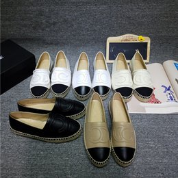 Wholesale Pink Floral Shoes - Famous Brand Women Leather Pearls Espadrilles Top Quality Brand 2017 Real Lambskin Women Flat Shoes Pearl Espadrilles Size EUR35-42 with Box