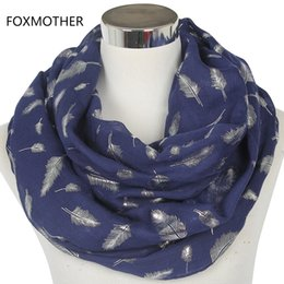 Wholesale Womens Infinity Scarfs - Foxmother Free Shipping 2017 Europe Fashion Womens White Navy Pink Shiny Bronzing Silver Feather Infinity Scarves