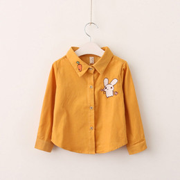 Wholesale Rabbit Tee Shirt - Everweekend Girls Rabbit Embroidered Shirt Tees Candy Yellow and Pink Color Fashion Clothing Autumn Spring Western Baby Tops