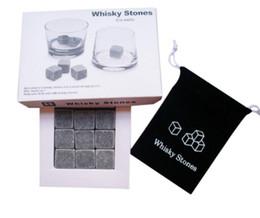 Wholesale Wine Box Gift Sets Wholesale - 9pcs Set Whiskey Stones Chilling Rocks Cubes in Gift Box l Whiskey Ice Cubes Cooler Stone Wine Beer Cooling Whisky Rock Cooler KKA2907