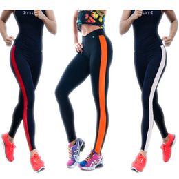 Wholesale Gray Cotton Womens Underwear - Womens sports underwear stripe cotton Bodybuilding Leggings Tenths Yoga Pants Slim pants S M L XL 151023