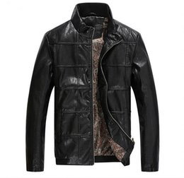 Wholesale Thin Leather Motorcycle Jacket - Fall-2016 Hot autumn and winter men's leather jacket coat motorcycle clothing windproof jacket free shipping