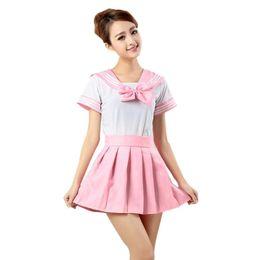 Wholesale Uniform Work Shirts - Wholesale- Lovely Senior Student Uniform Shirt Dress Set Women Cosplay Mini Pleated Dress Anime Girl Japan Bowknot Sailor Suit Lady vestido