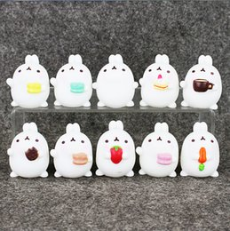 Wholesale Finish Rabbits - Lovely Cute Molang Rabbit action Figure Model Toys Dolls Kids Toys Gifrs 5cm 10 styles for kids gift free shipping EMS