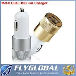 Wholesale Uk Iphone5 - 2016 Metal Dual USB Port Car Charger Universal 1A+2.1A for iPhone5 6s Plus iPad iPod Samsung Galaxy s7 S6 Motorola Sony Nokia LG