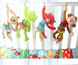 Wholesale Dogs Pull Toy - Animal Baby Soft Toy Ring Bell Baby Plush Rattle Squeaker Cute Cartoon Dog Frog Monkey cat Plush pull shock baby Toy
