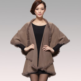 Wholesale Cashmere Poncho Black - Wholesale-2015 Winter Autumn Women Cardigan Fashion Rabbit Fur Collar Cashmere Cape Poncho Female Knitted Poncho Coat
