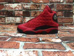 Wholesale Chinese Wing Shoes - Chinese Singles Day 13s mens basketball shoes sneaker red wings Outdoor sports athletic trainer Retro 13
