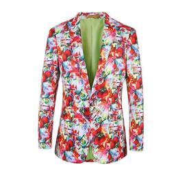 Wholesale Man S Suit Size 46 - 2017 mens blazers Christmas fashion floral jacket men New year Party suit blazer for men Euro Size 46-58 Spring Casual coat men