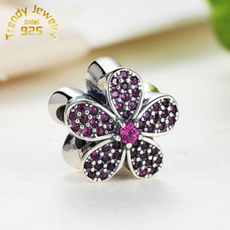 Wholesale European Rhinestone Cube - 100% S925 Sterling Silver Charms Floral with Rhinestone European Beads For Bracelets Purple Flower 5pcs lot Free Shipping