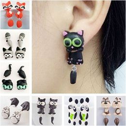 Wholesale Hot Cartoons Fox - Fashion hot cartoon soft pottery nail piranhas fox cat crocodile cartoon hand earrings Animal pattern earrings