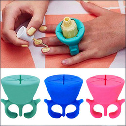 Wholesale Display Ring Nails - Soft Silicone Finger Wearable Nail Gel Polish Bottle Holder with ring Creative Nail Art Tools Polish Varnish Bottle Display Stand Holder