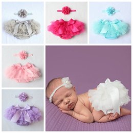 Wholesale Diaper Cover 2t - 2016 baby bloomers girls ruffle shorts and tops set kids pp pants + flower headbands boutique outfits toddler lace underwear diaper covers