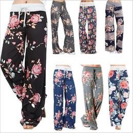 Wholesale Wholesale Wide Leg Pants - Wide Leg Pants High Waist Bloomers Women Floral Flare Pants Fashion Casual Palazzo Capris Sexy Trousers Fashion Harem Pants Slacks New B2781