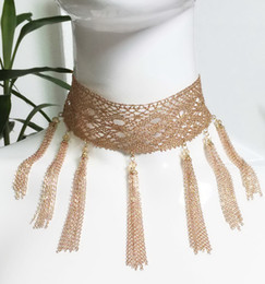 Wholesale rose lace choker - Chain Fringe Choker Silver chain fringe lace choker necklace Rose gold lace chain choker silver lace glass beads chain choker necklace