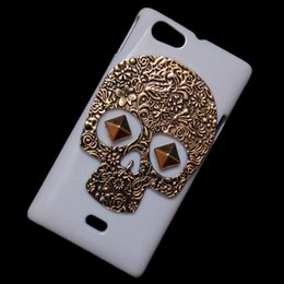 Wholesale Miro Case - White Case Cover for Sony Xperia Miro ST23I, Bronze Retro Metallic Skeleton Skull Punk Rivet Stud Back Hard Protective Skin Shell