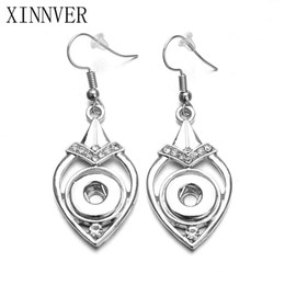 Wholesale 12mm Earring - NOOSA Xinnver Snap Jewelry Set 12mm Snap Drop Earrings And 18mm Water Drop Pendant Jewelry With Link Chain