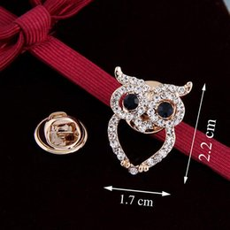 Wholesale Steel Needles Ball - Free postage factory direct new 2016 Korean version of mini retro owl brooch small suit shirt collar pin diamond fashion barbed horse needle