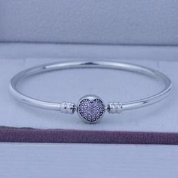 Pandora amor rosa cz online-100% auténticos 925 brazaletes de plata brazalete de plata del círculo de la pulsera de la CZ rosa del amor va bien para los encantos de breca granos al por mayor 1pc / lot