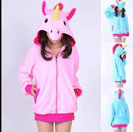 Wholesale Sweater Anime - Unicorn Hoodies Anime Horse Jackets Women Cartoon Zipper Hoodies Cosplay Sweatshirts Coats Costume Sweater Outerwear KKA3108