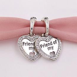 amizade colares de amizade Desconto Authentic 925 Sterling Silver Beads Corações De Amizade Pingente Charme Encantos Fit Pandora Estilo Europeu Pulseiras Colar de Jóias 792147CZ