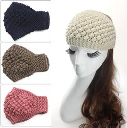 Wholesale Womens Winter Fashion Headbands - Womens Warm Crochet Headwrap Girl Ponytail Hats Ladies Winter Autumn Warm Knitted Crochet Beanie Headbands Hair Accessories Headwear