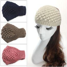 Wholesale Free Crochet Hair Accessories - Womens Warm Crochet Headwrap Girl Ponytail Hats Ladies Winter Autumn Warm Knitted Crochet Beanie Headbands Hair Accessories Headwear