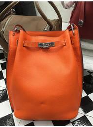Wholesale Coffee Bucket - Women Bucket Handbags Genuine Leather Messenger Bags High Quality Crossbody Shoulder Tote Bags Classic Designer European Style