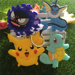 Wholesale Movies Types - 15 type Pocket Monster keychain Poke mon Silicone Squirtle Charizard Eevee Pikachu Poke Ball Key Chain both side Figures keyrings 170587
