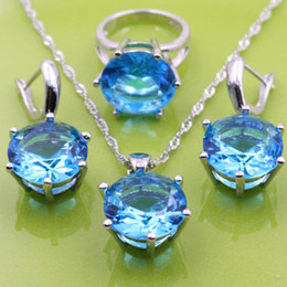 Wholesale Mystic Topaz Silver Earrings - 925 Sterling Silver Jewelry Sets With Mystic Natural Blue Topaz Earrings Pendant Necklace Ring For Women Free Gift
