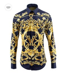 Wholesale Royal Blue Shirts Cotton - Wholesale-European&American Royal Style Cotton Shirts for Men 2016 Autumn Fashion Mens Long-sleeved Digital Printed Shirts Chemise Homme