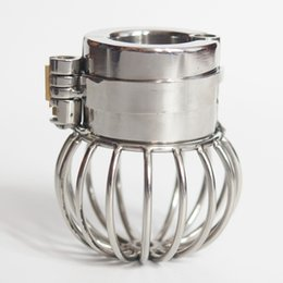 Wholesale scrotum steel cage - Male Chastity Device Ball Cage Stainless Steel Scrotum Pendant Full Restraint Ball Stretcher With Spikes BDSM Bondage Sex Toys For Men