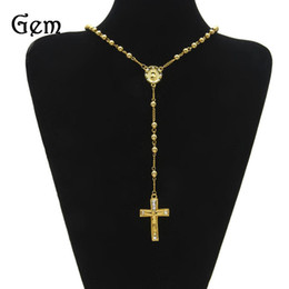 Wholesale Hip Hop Wholesale Beads - Network Best Sellers European Hip-hop Hiphop Chain A String Of Beads Cross Jesus Necklace Stainless Steel Necklaces Jewelry