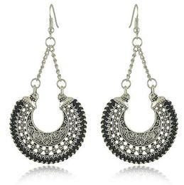 Wholesale Weave Earrings - Earrings for women Exaggerated hollow carved retro earrings woven metal U-shaped woven baskets earrings