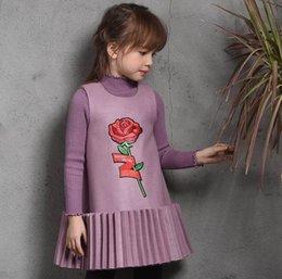 Wholesale Girls Red Wool Dress - New Girls Dress Woollen Embroidered Sleeveless Dress Children Clothing 2-7T B60372