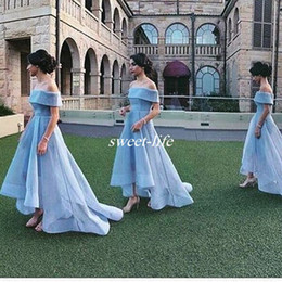 Wholesale Maids Short Ball Dresses - Off Shoulder Sky Blue Ball Gown Wedding Guest Party Maid of Honor Dresses Arabic Prom Gowns 2016 Hi Lo Plus Size Bridesmaid Dresses
