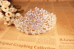 Wholesale Flower Embellishments - Luxury Flower Petal Tiaras Wedding Accessories Bridal Sparkle Hairbands 2016 Beads Crystal Bridal Hair Embellishments in Silver O324